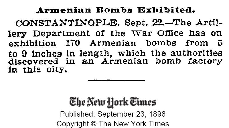 Armenian bombs Armenian genocide 1896